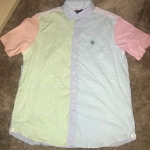 Men's Multi-Color Button-Up Shirt - Large, S/S